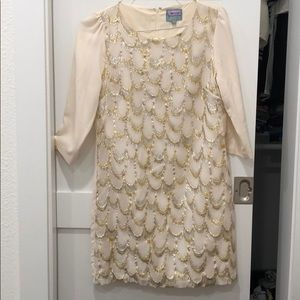 Cream Dress with silver and gold embroidery
